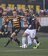Dundee's Peter MacDonald and Alloa Athletic's Darren Young - Alloa Athletic v Dundee, SPFL Championship at Recreation Park, Alloa<br /> <br />  - &copy; David Young - www.davidyoungphoto.co.uk - email: davidyoungphoto@gmail.com