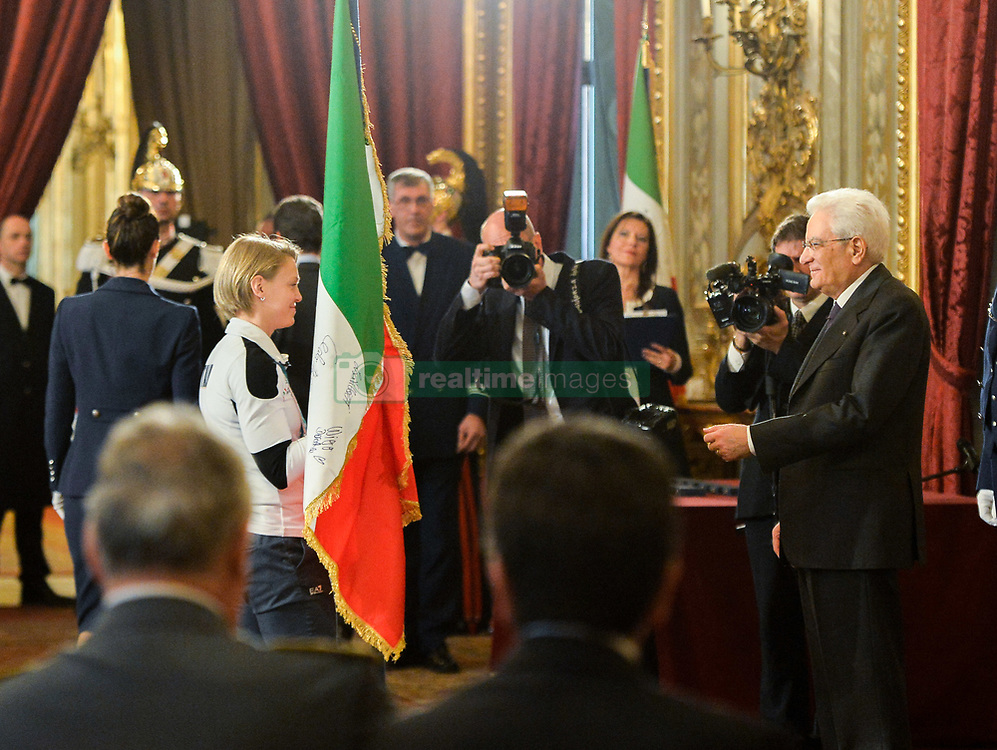 March 27, 2018 - Rome, Italy - Sergio Mattarella and Arianna Fontana during  ceremony of the return of the Italian flag by the athletes who participated in the Olympics Winter and Paralympic Games of PyeongChang 2018, Rome on march 27, 2018  (Credit Image: © Silvia Lore/NurPhoto via ZUMA Press)