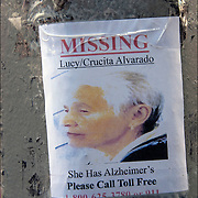 Missing Person sign on lamp post, Lucy Crucita Alvarado She has Alzheimer's Please Call Toll Free.