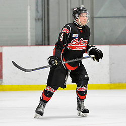 """FORT FRANCES, ON - May 1, 2015 : Central Canadian Junior """"A"""" Championship, game action between the Fort Frances Lakers and the Toronto Patriots, semi-final game of the Dudley Hewitt Cup. A.J. Kapcheck #4 of the Fort Frances Lakers during the third period.<br /> (Photo by Shawn Muir / OJHL Images)"""