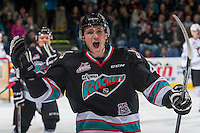 KELOWNA, CANADA - FEBRUARY 16: Gordie Ballhorn #4 of Kelowna Rockets celebrates a goal against the Red Deer Rebels on February 16, 2016 at Prospera Place in Kelowna, British Columbia, Canada.  (Photo by Marissa Baecker/Shoot the Breeze)  *** Local Caption *** Gordie Ballhorn;