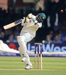 Pakistan's Mohammad Abbas avoids a bouncer from England's Mark Wood during day three of the First NatWest Test Series match at Lord's, London.