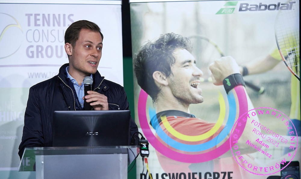 Marcin Maciocha (Babolat Polska) speaks during PZT - Trainer's Conference of Polish Tennis Association at Mera Hall in Warsaw, Poland.<br /> <br /> Poland, Warsaw, November 29, 2015<br /> <br /> Picture also available in RAW (NEF) or TIFF format on special request.<br /> <br /> Any editorial, commercial or promotional use requires permission.<br /> <br /> Adam Nurkiewicz declares that he has no rights to the image of people at the photographs of his authorship.<br /> <br /> Mandatory credit:<br /> Photo by &copy; Adam Nurkiewicz / Mediasport