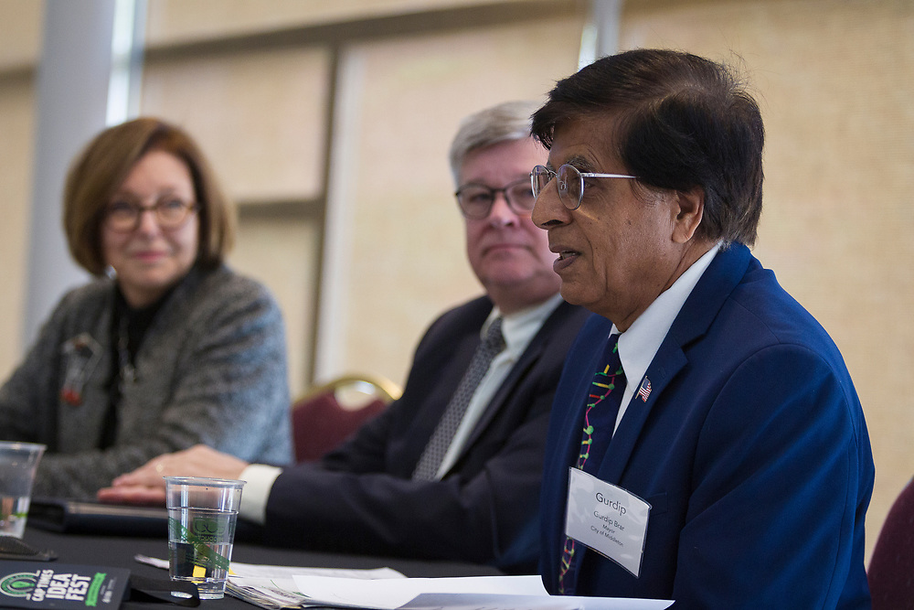 Middleton Mayor Gurdip Brar speaks during the Cap Times Idea Fest 2018 at the Pyle Center in Madison, Wisconsin, Saturday, Sept. 29, 2018.