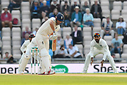 Alastair Cook of England gets off the mark during day two of the fourth SpecSavers International Test Match 2018 match between England and India at the Ageas Bowl, Southampton, United Kingdom on 31 August 2018.