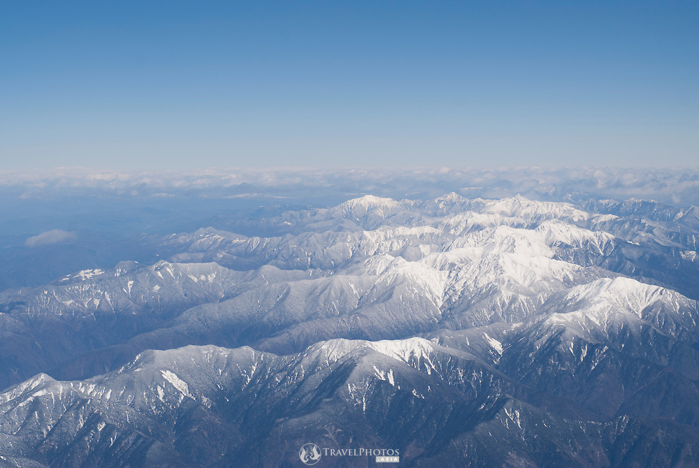 A view of the Japan Alps as seen from a Japan Airlines flight from Narita to Nagoya.