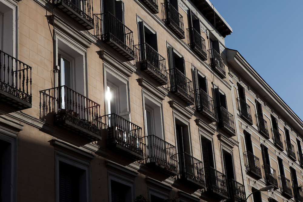 Traditional architecture in Chueca. Madrid, Spain.