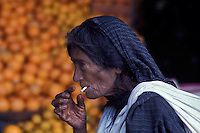 Old woman smoker - Mexico - photograph by Owen Franken