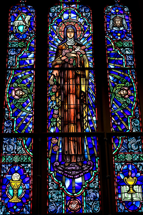 Stained glass image of St. Therese of Lisieux at St. Therese Church in Appleton. (Sam Lucero photo)
