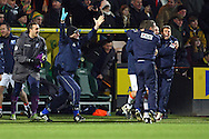 Picture by Paul Chesterton/Focus Images Ltd +44 7904 640267.26/01/2013.The Luton bench celebrate victory at the end of The FA Cup 4th Round match at Carrow Road, Norwich.