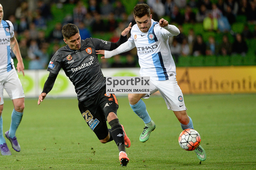 Dimitri Petratos of Brisbane Roar FC, Ben Garuccio of Melbourne City - Hyundai A-League, March 18th 2016, ROUND 24 - Melbourne City FC v Brisbane Roar FC in a 3:1 win to City after a slow first half at Aami Park, Melbourne Australia. © Mark Avellino | SportPix.org.uk
