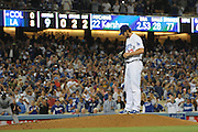 Clayton Kershaw pauses on the mound before throwing his final pitch in a no hitter. The Dodgers defeated the Colorado Rockies 8-0 at Dodger Stadium in Los Angeles, CA. 6/18/2014(Photo by John McCoy Daily News)