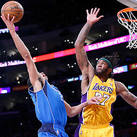 04 April 2014: Los Angeles Lakers forward Jordan Hill (27) is seen on defense during the Dallas Mavericks 107-95 victory over the Los Angeles Lakers at the Staples Center, Los Angeles, California, USA.