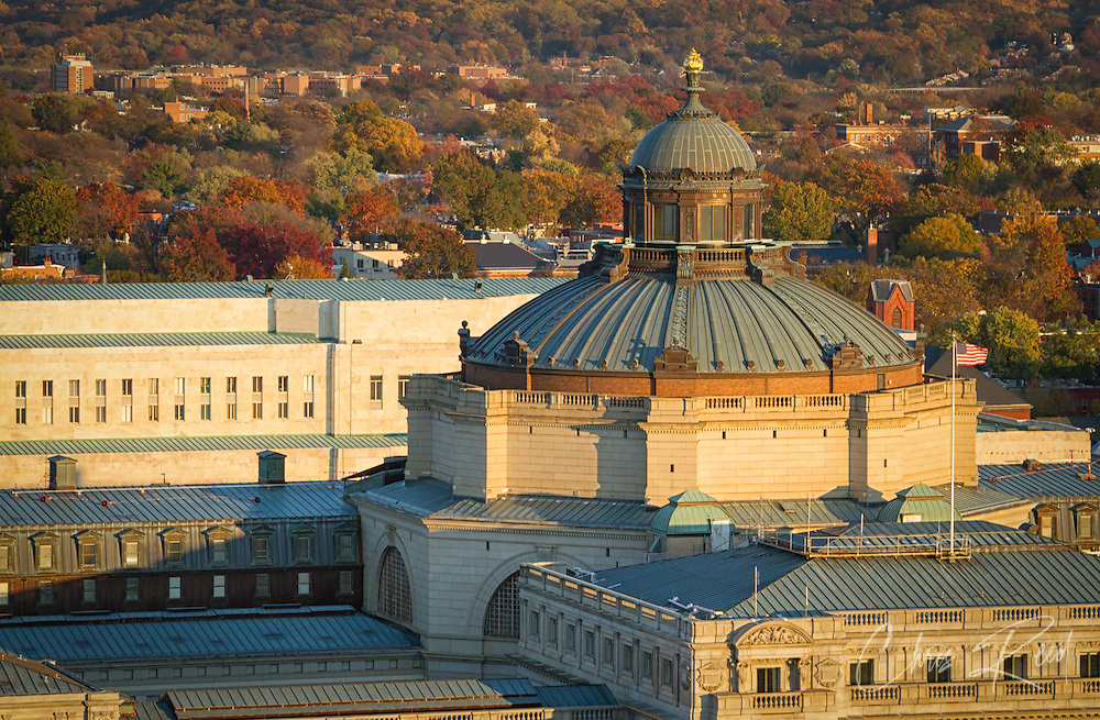 USA, Washington DC. The dome of the Jefferson Building (Library of Congress) in autumn sunset light as seen from the top of the U.S. Capitol Building.
