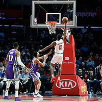 12 October 2017: LA Clippers guard Tyrone Wallace (12) goes for the layup during the LA Clippers 104-87 victory over the Sacramento Kings, at the Staples Center, Los Angeles, California, USA.