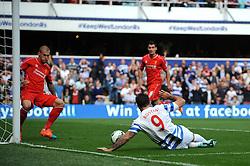 Queens Park Rangers's Charlie Austin misses  - Photo mandatory by-line: Dougie Allward/JMP - Mobile: 07966 386802 - 19/10/2014 - SPORT - football - London - Loftus Road - QPR v Liverpool - Barclays Premier League