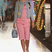 Miranda Kerr walks down the runway at the Moschino fashion show at MADE Fashion Festival on Thursday, June 8, 2017, in Los Angeles. (Photo by Willy Sanjuan/Invision/AP)