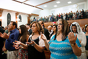 Chaldeans pray during a Mass of ordination at St. Peter Chaldean Catholic Cathedral in El Cajon, Calif., Aug. 14, 2015. (Nancy Wiechec for ONE magazine)