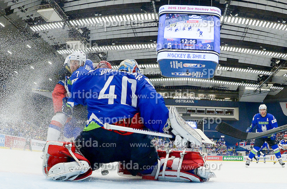 Klemen Pretnar of Slovenia and Luka Gracnar of Slovenia during Ice Hockey match between Russia and Slovenia at Day 3 in Group B of 2015 IIHF World Championship, on May 3, 2015 in CEZ Arena, Ostrava, Czech Republic. Photo by Vid Ponikvar / Sportida