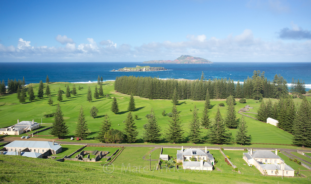 View of Quality Row with Philip Island and Nepean Island in the background, Norfolk Island, Australia