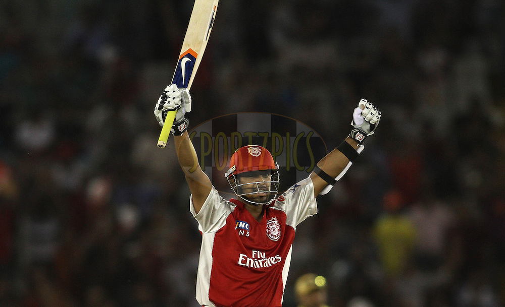 Paul Valthaty of the Kings XI Punjab celebrates after reaching his hundred during match 9 of the Indian Premier League ( IPL ) Season 4 between the Kings XI Punjab and the Chennai Super Kings held at the PCA stadium in Mohali, Chandigarh, India on the 13th April 2011..Photo by Shaun Roy/BCCI/SPORTZPICS