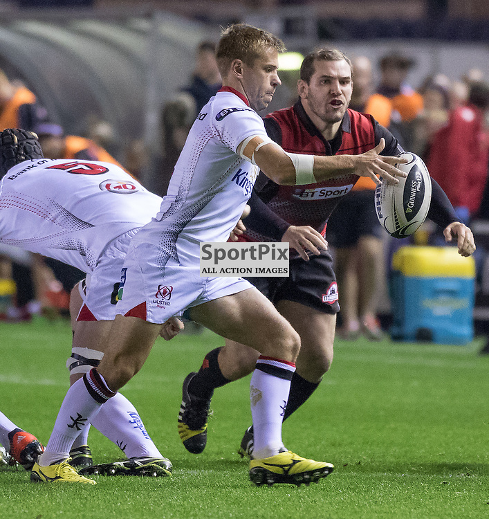 Ulster # 9 Paul Marshall prepares to clear his lines. Edinburgh Rugby v Ulster Rugby, 16th October 2015