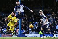 Reuben Reid of Plymouth Argyle gets a kick in the head from John White of Southend United (2nd left) as Joe Pigott of Southend United (right) looks on during the Sky Bet League 2 match at Roots Hall, Southend<br /> Picture by David Horn/Focus Images Ltd +44 7545 970036<br /> 10/01/2015