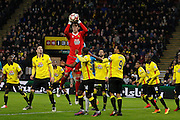 Watford goalkeeper Costel Pantilimon (30) intercepts a Burton Albion corner during the The FA Cup 3rd round match between Watford and Burton Albion at Vicarage Road, Watford, England on 7 January 2017. Photo by Richard Holmes.