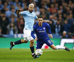 February 24, 2019 - London, England, United Kingdom - Chelsea's Eden Hazard gets tackled by Manchester City's Sergio Aguero.during during Carabao Cup Final between Chelsea and Manchester City at Wembley stadium , London, England on 24 Feb 2019. (Credit Image: © Action Foto Sport/NurPhoto via ZUMA Press)