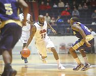 """Ole Miss guard Chris Warren (12) dribbles vs. Alcorn State at the C.M. """"Tad"""" Smith Coliseum in Oxford, Miss. on Thursday, December 29, 2010. (AP Photo/Oxford Eagle, Bruce Newman)"""