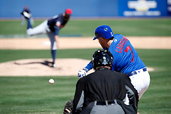 March 18, 2018 - Las Vegas, NV, U.S. - LAS VEGAS, NV - MARCH 18: Victory Caratini (7) of the Cubs swings at a pitch from Steven Fife (69) of the Indians during a game between the Chicago Cubs and Cleveland Indians as part of Big League Weekend on March 18, 2018 at Cashman Field in Las Vegas, Nevada. (Photo by Jeff Speer/Icon Sportswire) (Credit Image: © Jeff Speer/Icon SMI via ZUMA Press)