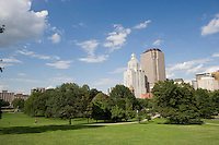Skyline from Bushnell Park, downtown, Hartford, CT