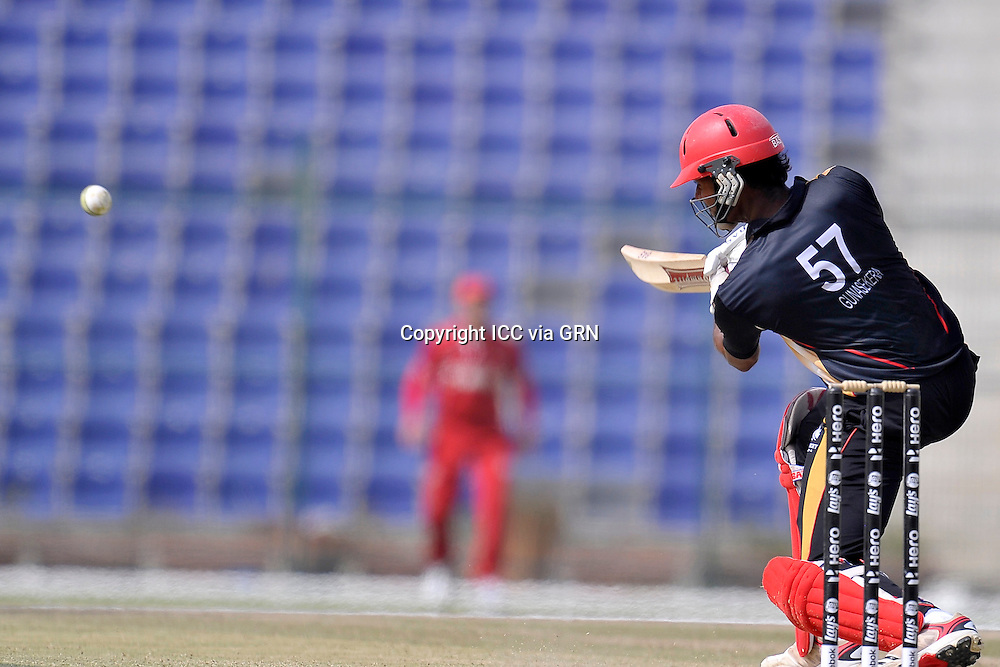 Canada's Ruvindu Gunasekera on a roll against the Danish at the ICC World Twenty20 Qualifier UAE 2012. Pix ICC/Thusith Wijedoru