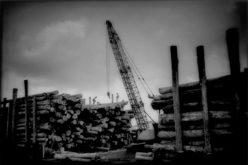 Timber ships' landing, Lower Rejang River, Sarawak, Malaysian Borneo.