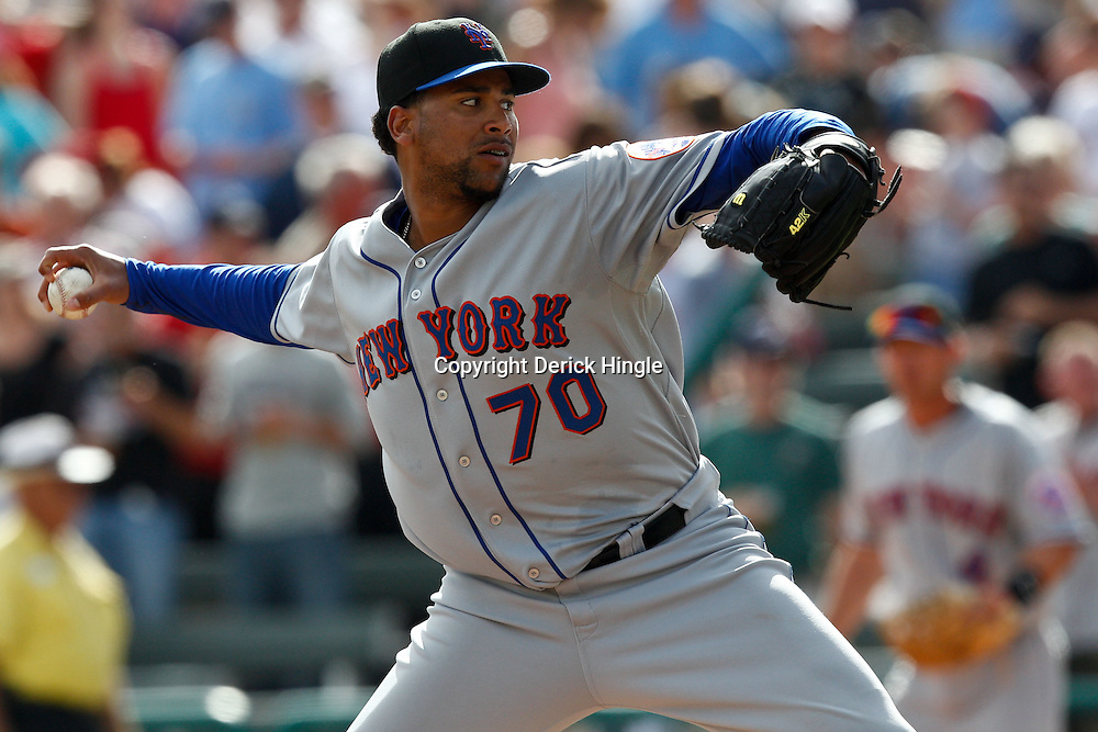 March 5, 2011; Lake Buena Vista, FL, USA; New York Mets relief pitcher Pedro Beato (70) during a spring training exhibition game against the Atlanta Braves at Disney Wide World of Sports complex.  Mandatory Credit: Derick E. Hingle