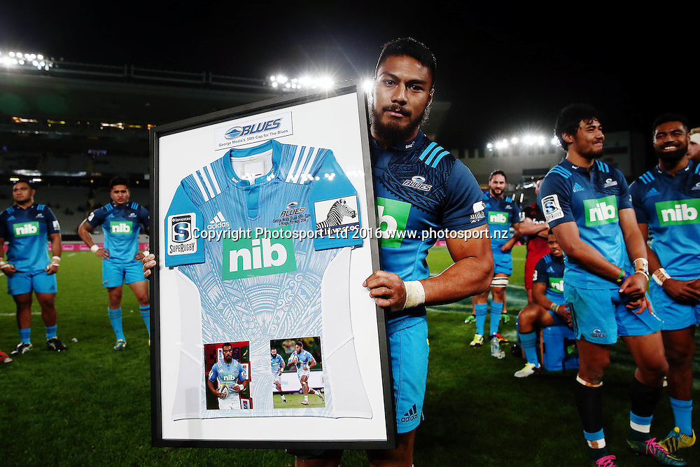 George Moala of the Blues is presented with a framed jersey for his 50th cap for the Blues. Super Rugby match, Blues v Crusaders at Eden Park, Auckland, New Zealand. 28 May 2016. Photo: Anthony Au-Yeung / www.photosport.nz