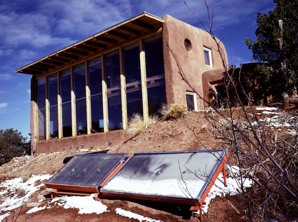 "Pioneer passive solar house designed by David Wright.  Photo published in ""Design for a Limited Planet"" in 1977.  Taken with Nikon FM on 35 mm camera."