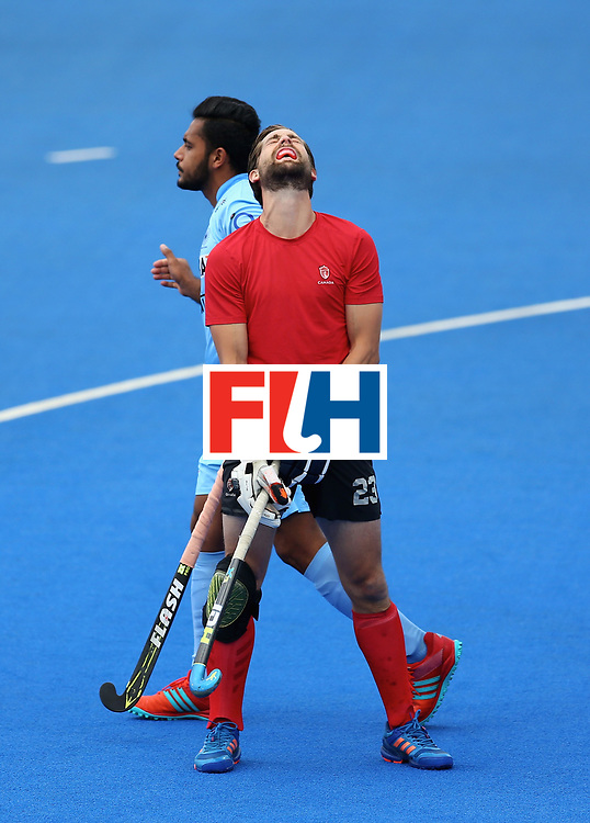 LONDON, ENGLAND - JUNE 25: Iain Smythe of Canada reacts to conceding during the 5th/6th place match between India and Canada on day nine of the Hero Hockey World League Semi-Final at Lee Valley Hockey and Tennis Centre on June 25, 2017 in London, England. (Photo by Steve Bardens/Getty Images)
