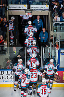 KELOWNA, CANADA - APRIL 8: The Kelowna Rockets head through the tunnel to the dressing room after the win against the Portland Winterhawks on April 8, 2017 at Prospera Place in Kelowna, British Columbia, Canada.  (Photo by Marissa Baecker/Shoot the Breeze)  *** Local Caption ***
