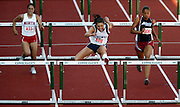 05/23/2009 - Liberty's Olivia Ferrara (608) clears the last barricade on her way to winning 5A Girl's 100 Meter Hurdles. The 2009 OSAA/U.S. Bank/Les Schwab Tires 6A-5A-4A Track and Field State Championships were run at Hayward Field in Eugene, Oregon.....KEYWORDS:  City, Portland, sports, Oregon, high school, OSAA, boys, girls, PIL, run, University, team