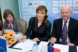 Vesna Fabjan, Petra Majdic and Janez Kocijancic of OKS at press conference when they have signed a contract with IOC and OKS for 16 months long sponsorship (1500 $ monthly) till Olympic games in Vancouver 2010, on December 22, 2008, Grand hotel Union, Ljubljana, Slovenia. (Photo by Vid Ponikvar / SportIda).