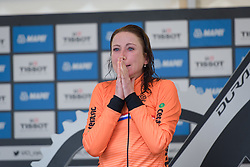 Annemiek van Vleuten starts to dream as the split times come through for the final finishers at UCI Road World Championships Elite Women's Individual Time Trial 2017 a 21.1 km time trial in Bergen, Norway on September 19, 2017. (Photo by Sean Robinson/Velofocus)