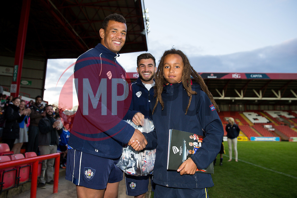 Ben Glynn and Craig Hampson of Bristol Rugby make presentations to the runner up teams - Photo mandatory by-line: Rogan Thomson/JMP - Mobile: 07966 386802 - 22/04/2015 - SPORT - Rugby Union - Bristol, England - Ashton Gate - Bristol Sport Schools Cup Rugby.
