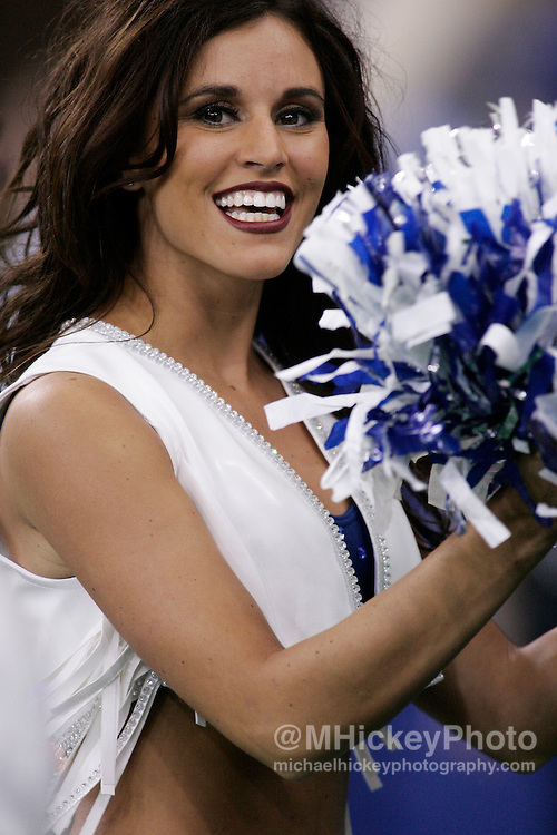 An Indianapolis Colts cheerleader seen on the sidelines of the Colts vs Raiders game.