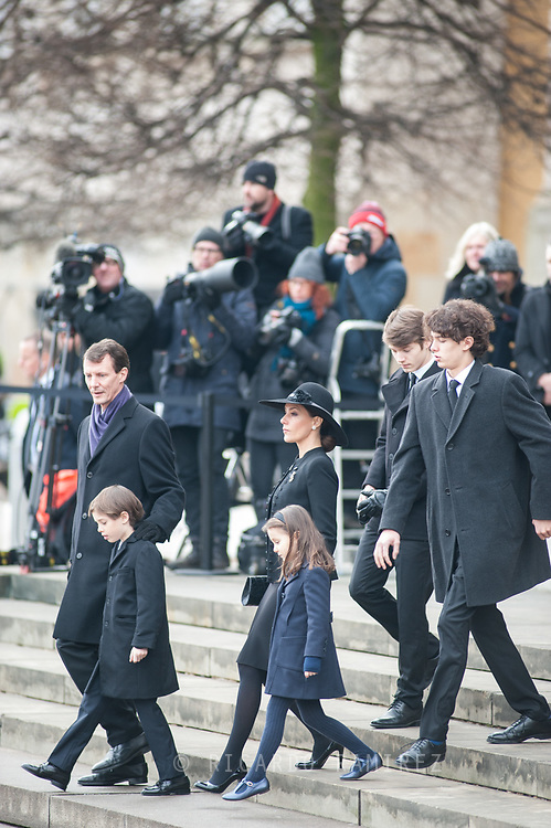 20.02.2018. Copenhagen, Denmark. <br /> Princess Marie, Prince Joacim, Prince Nikolai, Prince Felix, Prince Henrik and Princess Athena leaves  at Christiansborg Palace Church. <br /> Photo: Ricardo Ramirez.