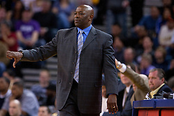 April 10, 2011; Oakland, CA, USA;  Golden State Warriors head coach Keith Smart on the sidelines against the Sacramento Kings during the first quarter at Oracle Arena. Sacramento defeated Golden State 104-103.