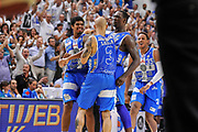 DESCRIZIONE : Campionato 2014/15 Serie A Beko Dinamo Banco di Sardegna Sassari - Grissin Bon Reggio Emilia Finale Playoff Gara6<br /> GIOCATORE : Edgar Sosa David Logan Rakim Sanders<br /> CATEGORIA : Ritratto Esultanza Fair Play<br /> SQUADRA : Dinamo Banco di Sardegna Sassari<br /> EVENTO : LegaBasket Serie A Beko 2014/2015<br /> GARA : Dinamo Banco di Sardegna Sassari - Grissin Bon Reggio Emilia Finale Playoff Gara6<br /> DATA : 24/06/2015<br /> SPORT : Pallacanestro <br /> AUTORE : Agenzia Ciamillo-Castoria/C.Atzori