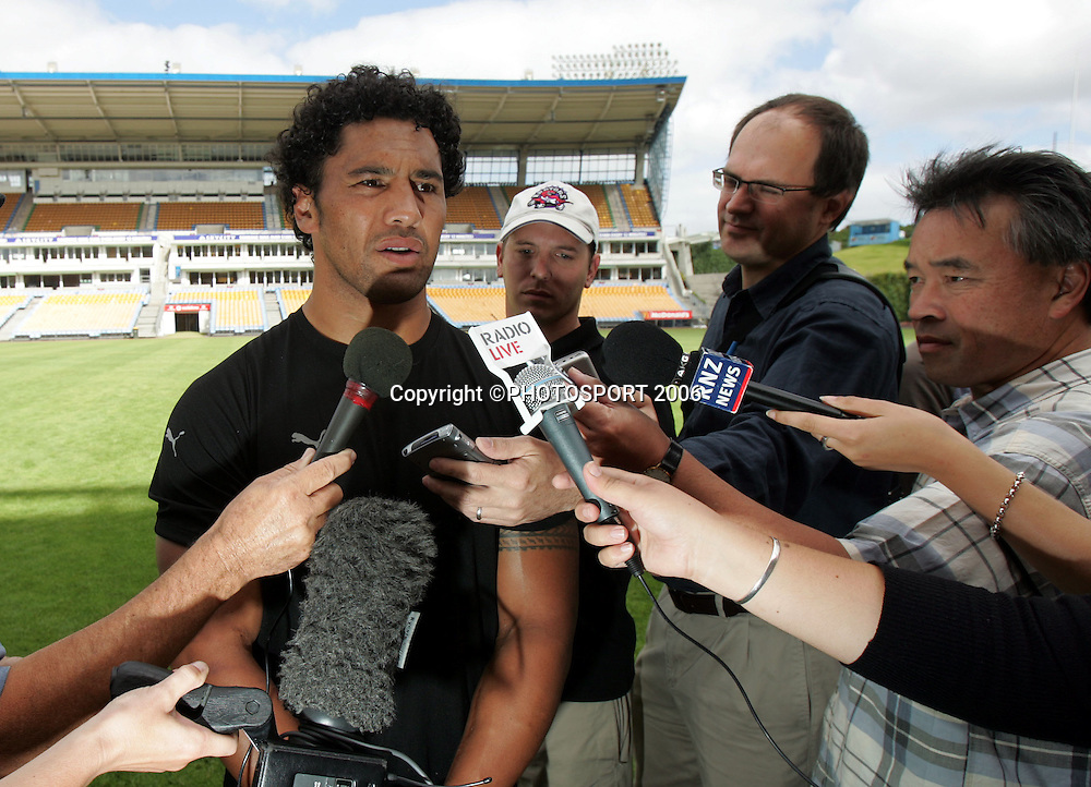 Warriors vice captain Ruben Wiki talks with the media during the Warriors training session held at Ericsson Stadium, Auckland, on Wednesday 1 March, 2006. Photo: Andrew Cornaga/PHOTOSPORT<br /><br /><br />147855