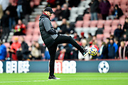 Liverpool manager Jurgen Klopp shows off some ball skills during the warm up ahead of the Premier League match between Bournemouth and Liverpool at the Vitality Stadium, Bournemouth, England on 7 December 2019.
