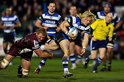 Tom Biggs (Bath) goes on the attack - Photo mandatory by-line: Patrick Khachfe/JMP - Tel: Mobile: 07966 386802 16/01/2014 - SPORT - RUGBY UNION -  The Recreation Ground, Bath - Bath Rugby v Bordeaux-Begles - Amlin Challenge Cup.